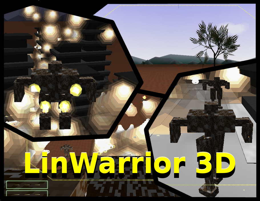 A jump jet boosted mech, a huge robot jumping over warzone-city. More mechs fighting in the urban town. And a simulation cockpit. Hovering above: LinWarrior